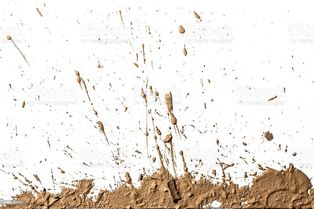 Light brown clay artistically sprayed up stock photo