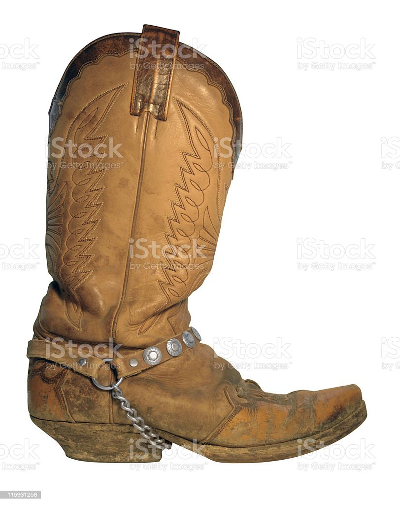 light brown cowboy boot stock photo