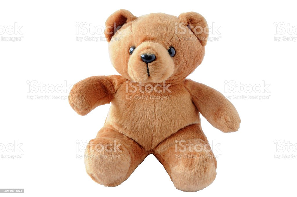 A light brown, furry teddy bear on a white background stock photo