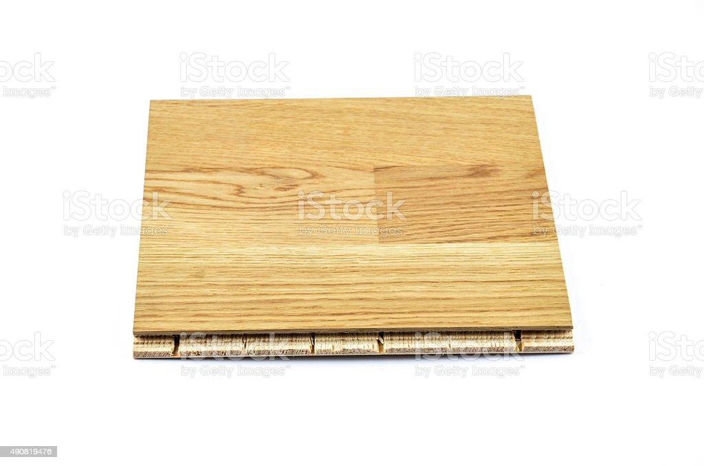 Light Brown Hardwood Tile on white Background Tilt Viewpoint stock photo