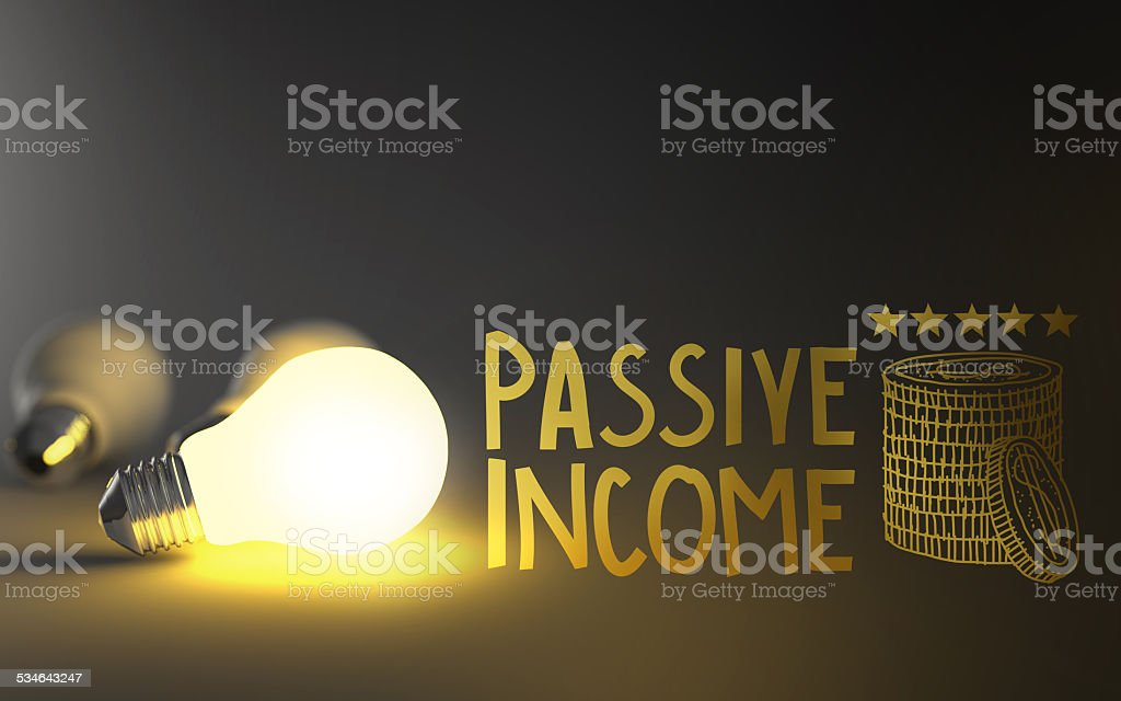 light bulb 3d and hand drawn passive income as concept stock photo