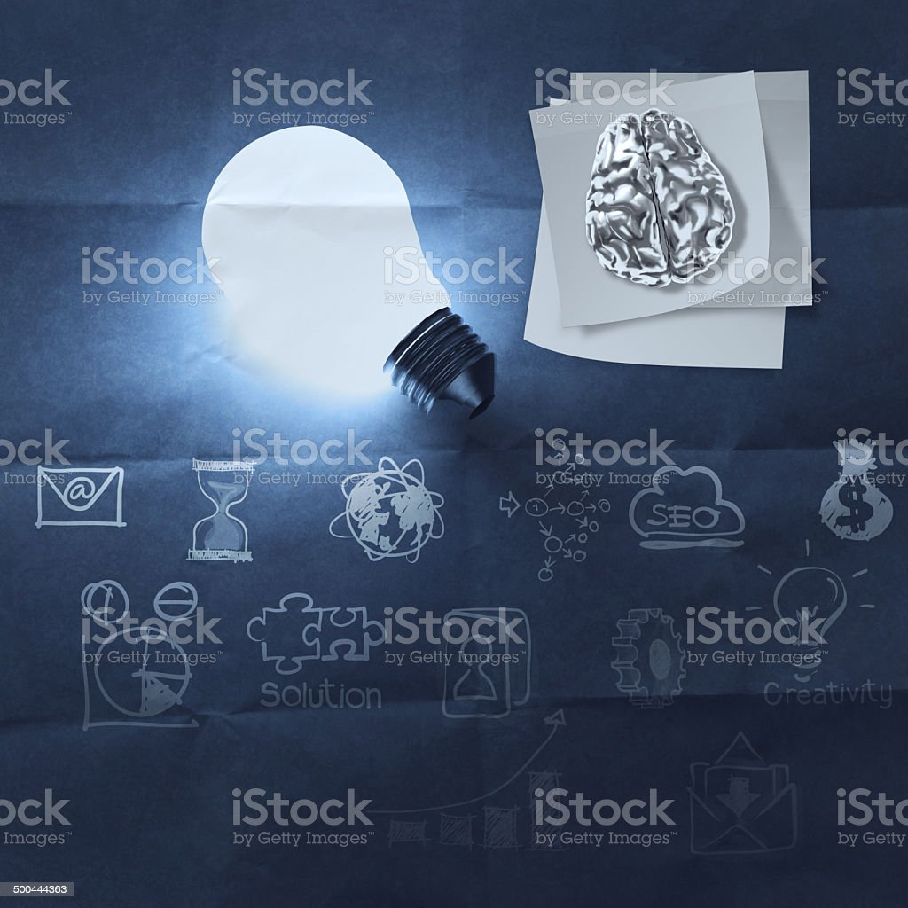 light bulb 3d on business strategy royalty-free stock photo