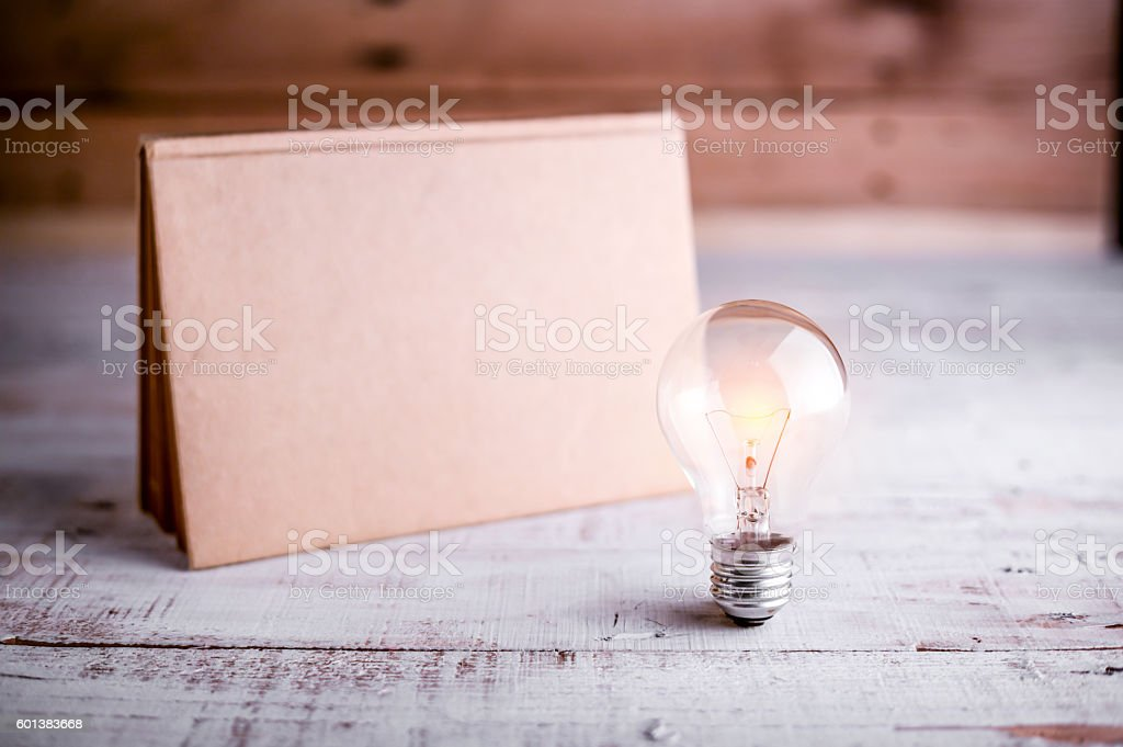 light bulb and blank calendar stock photo