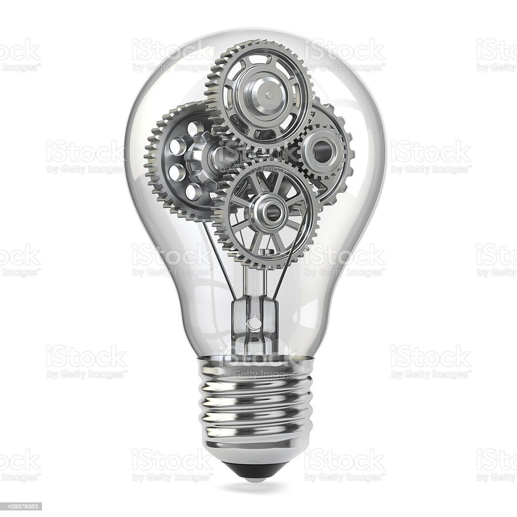 Light bulb and gears. Perpetuum mobile idea concept. stock photo