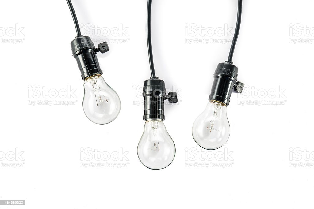 light bulb  and  Lamp Holder, cable tungsten three stock photo