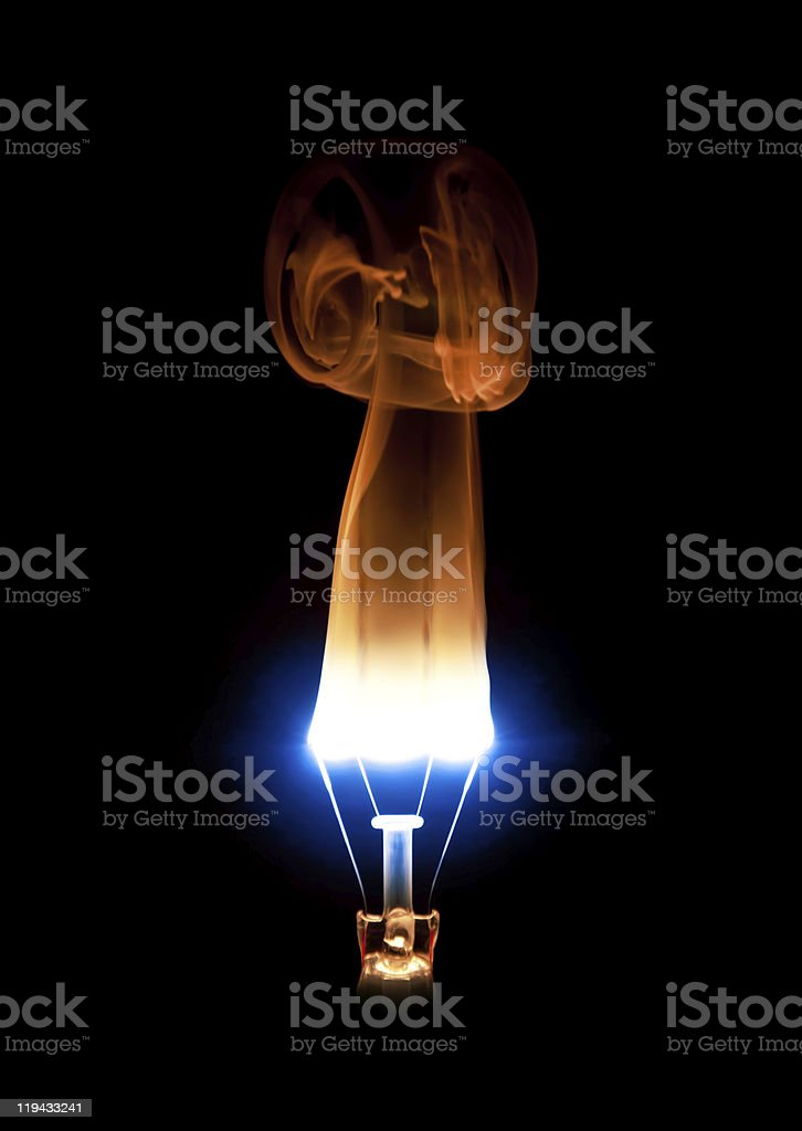 Light bulb burning out royalty-free stock photo