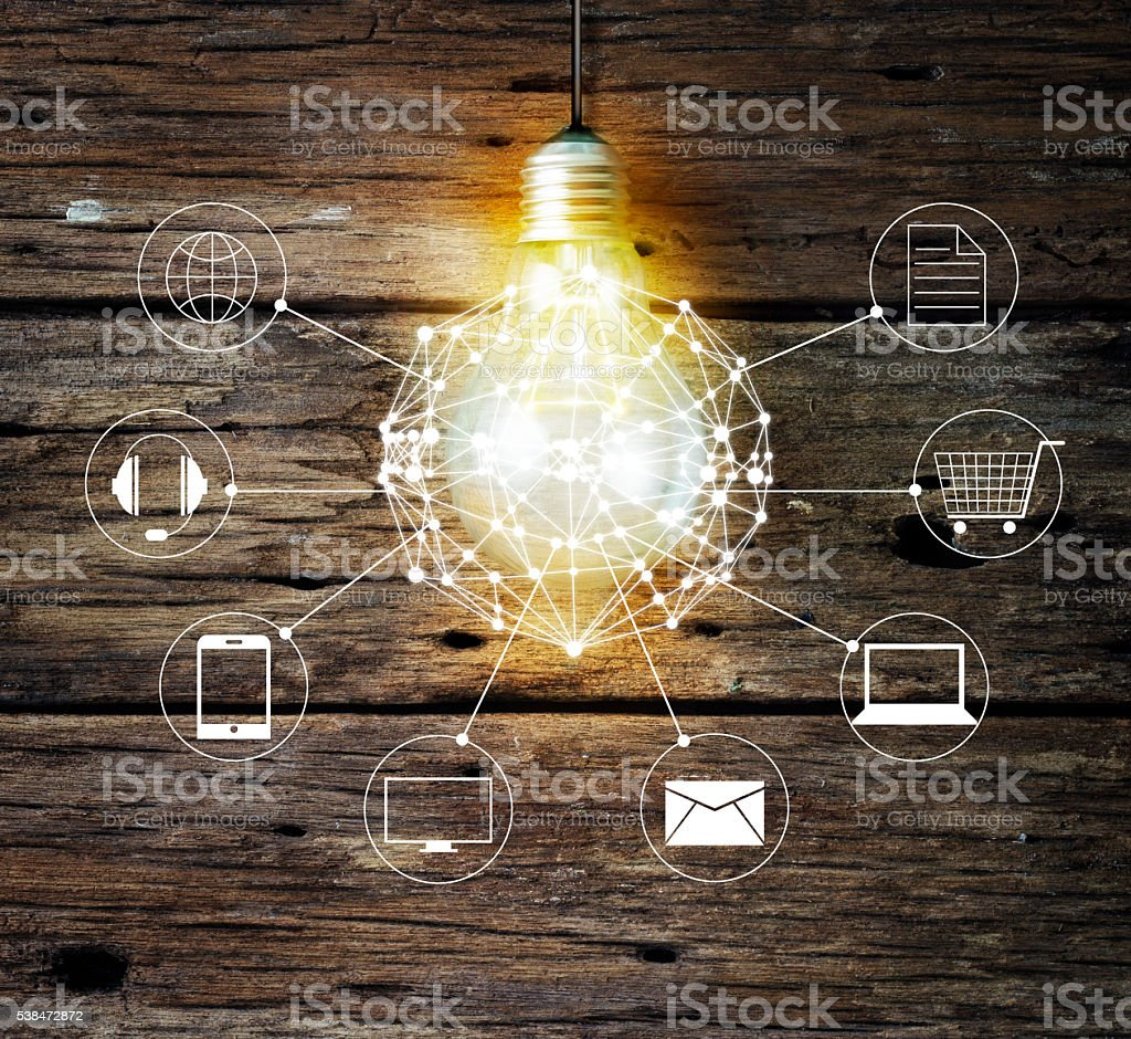 Light bulb circle global and icon customer network connection stock photo