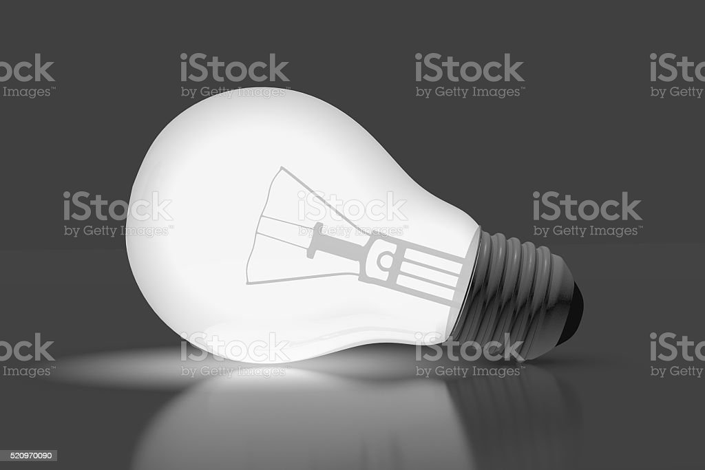 3D light bulb concept stock photo