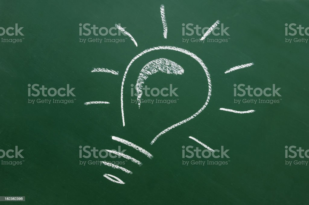 light bulb drawn on a blackboard royalty-free stock photo