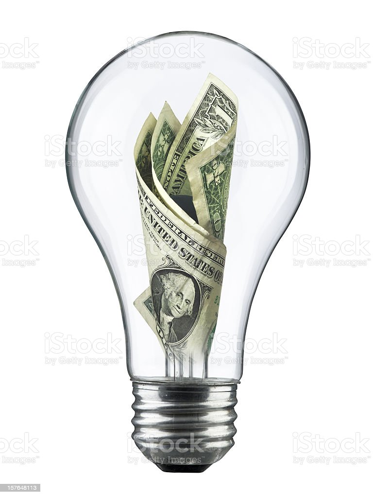 Light bulb electricity expense royalty-free stock photo