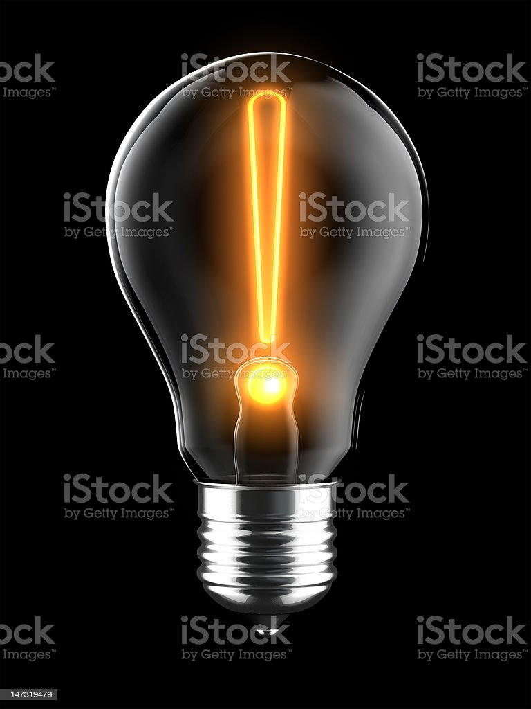 Light Bulb Exclaimation stock photo