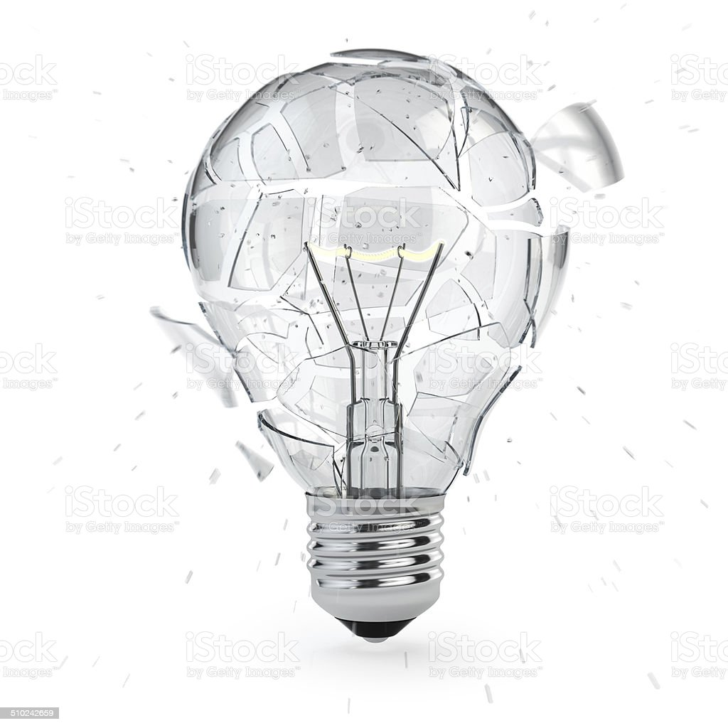 Light bulb exploding. Concept of idea. stock photo