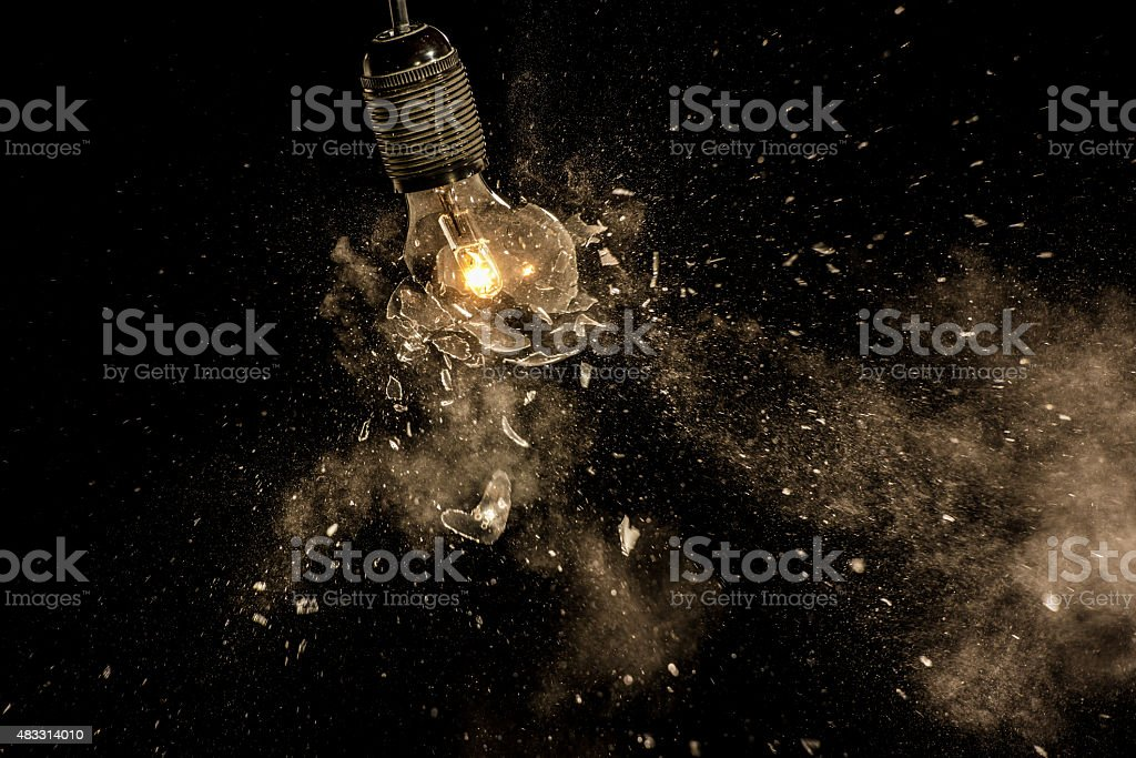 Light bulb exploding stock photo