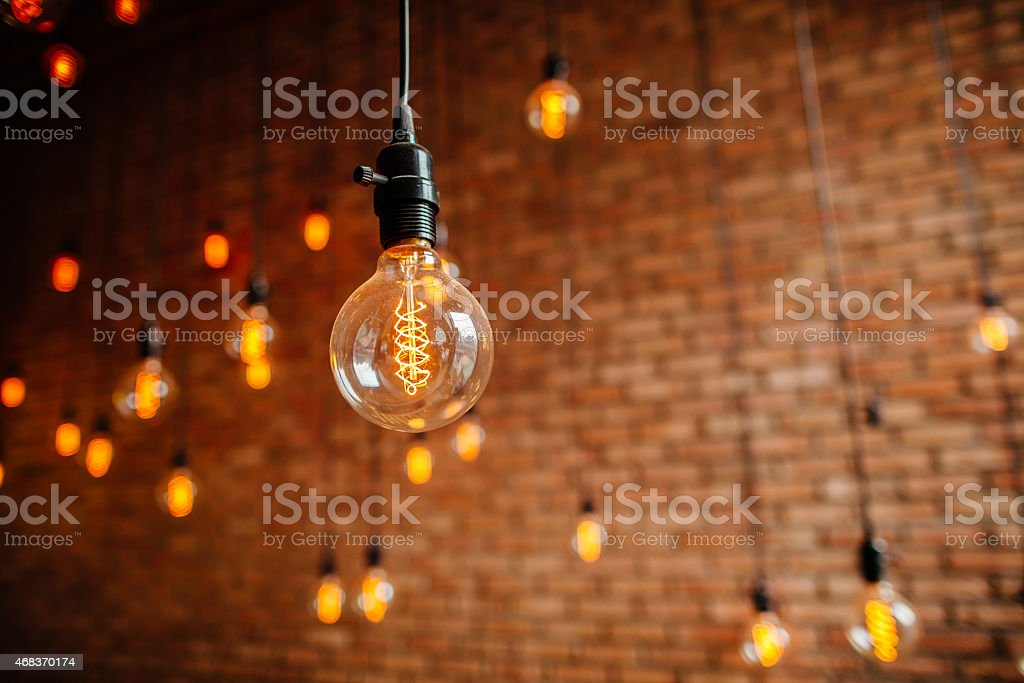 light bulb filament retro vintage stock photo