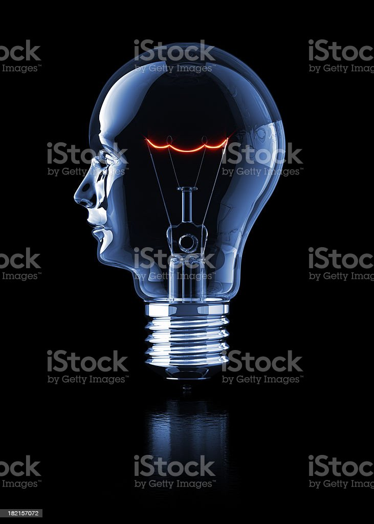 Light Bulb Head (Profile) stock photo