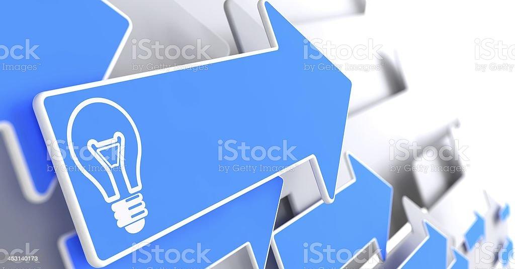 Light Bulb Icon on Blue Arrow. royalty-free stock photo
