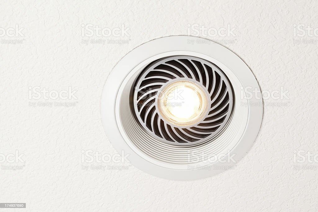 LED Light Bulb in Ceiling Fixture stock photo
