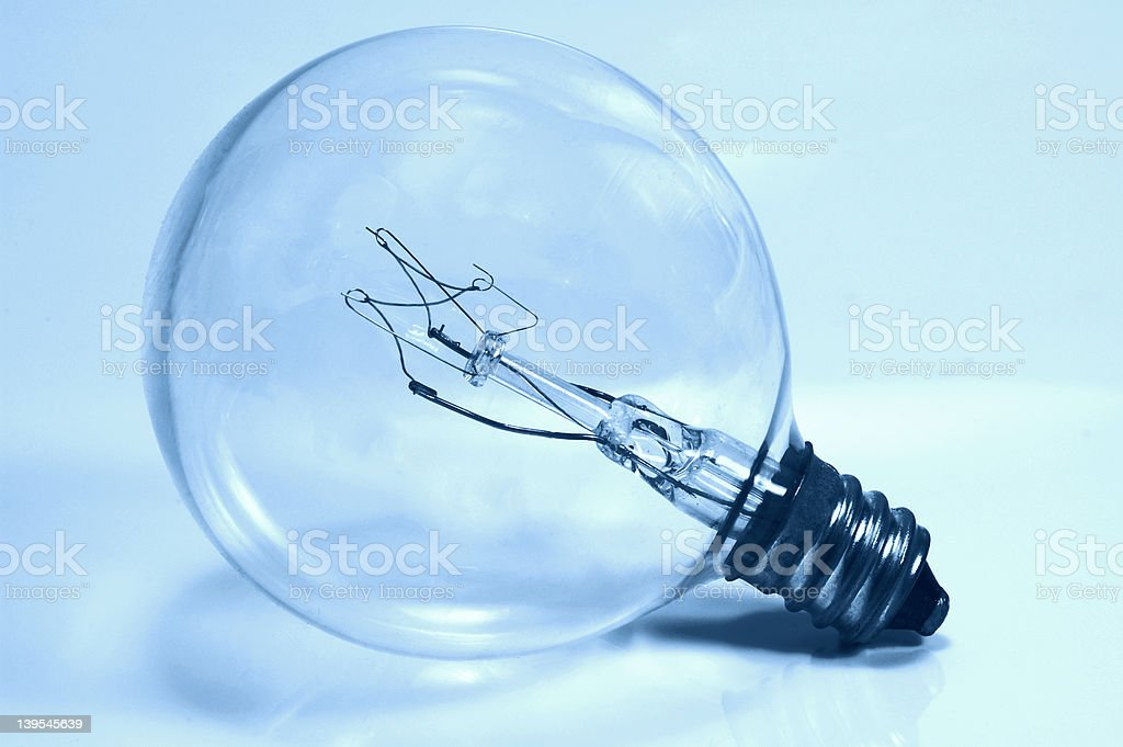 Light Bulb in Cyan royalty-free stock photo