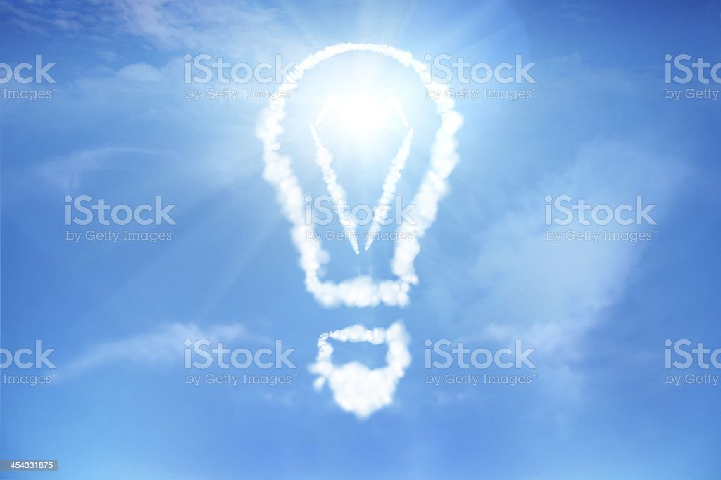 Light bulb in the cloudy sky royalty-free stock photo
