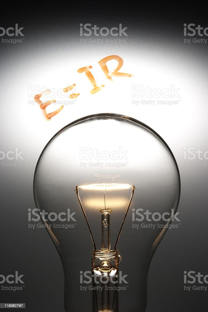 Light bulb is on with E=IR (Ohm's Law) royalty-free stock photo