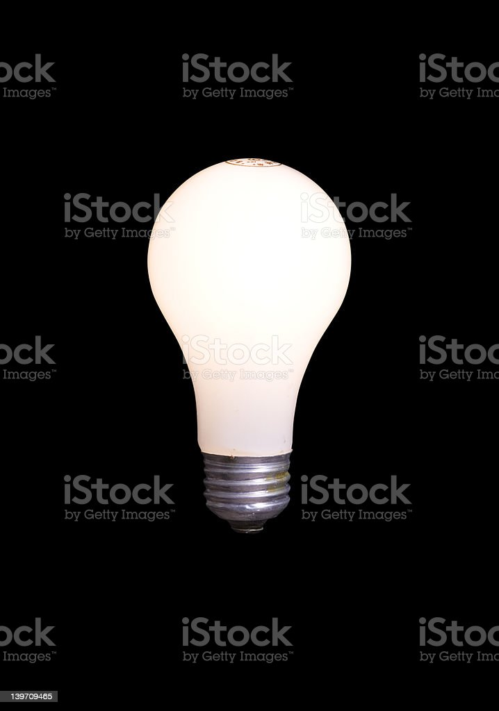 Light Bulb Isolated on Black with Clipping Path royalty-free stock photo