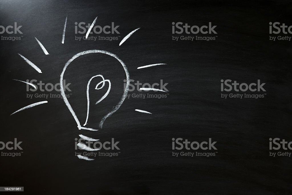 light bulb on blackboard royalty-free stock photo