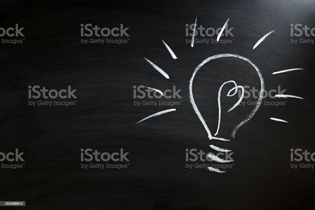 light bulb on blackboard royalty-free stock photo