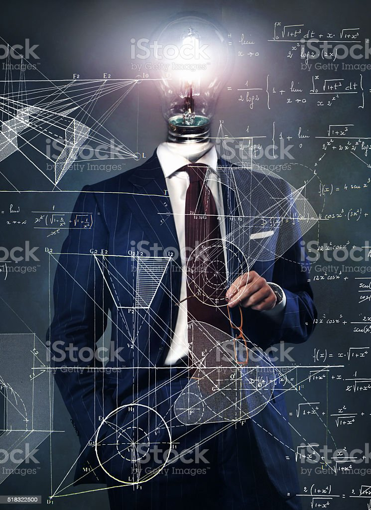 light bulb on businessman - solution concept stock photo