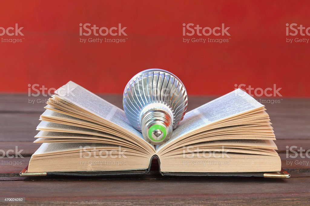 Light bulb on the book royalty-free stock photo