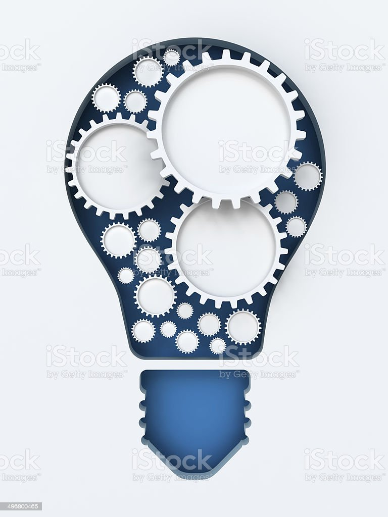 Light bulb paper cut with gears and copyspace, 3d render royalty-free stock photo