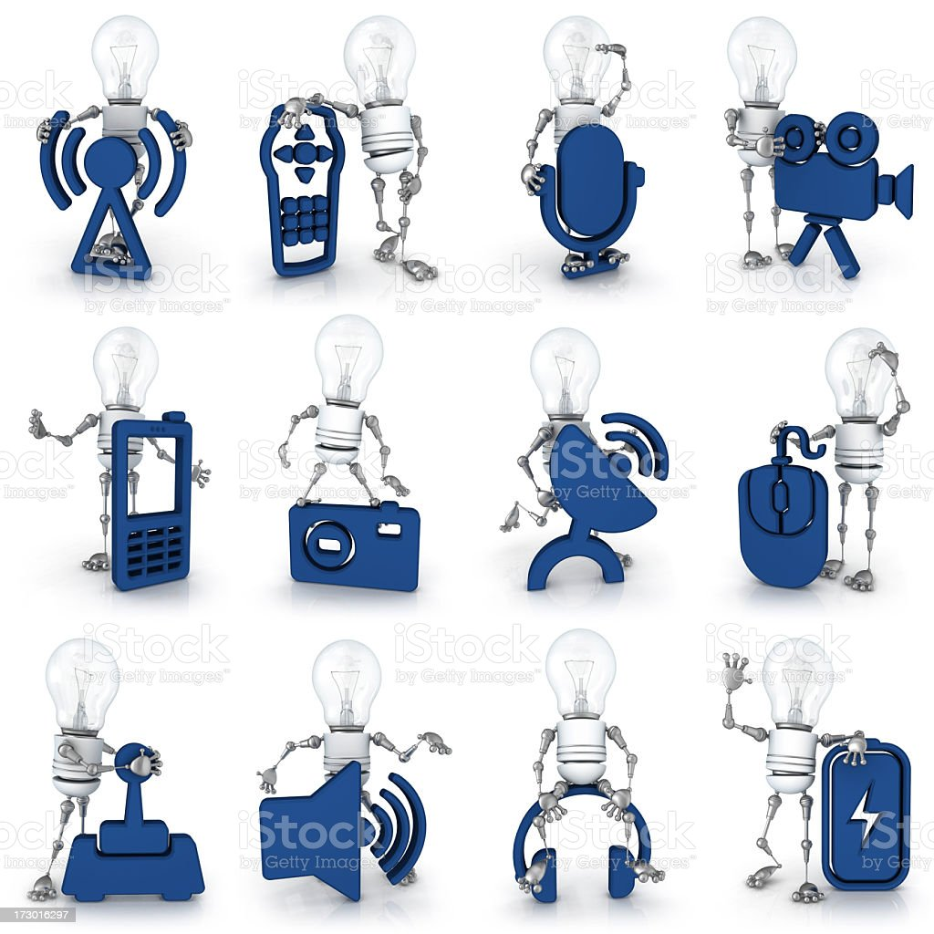 light bulb robot - equipment icons royalty-free stock photo