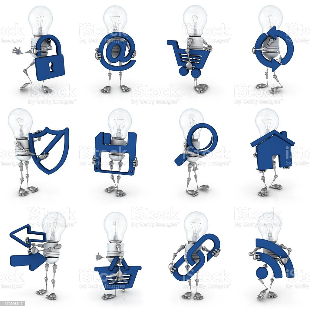 light bulb robot - internet icons royalty-free stock photo