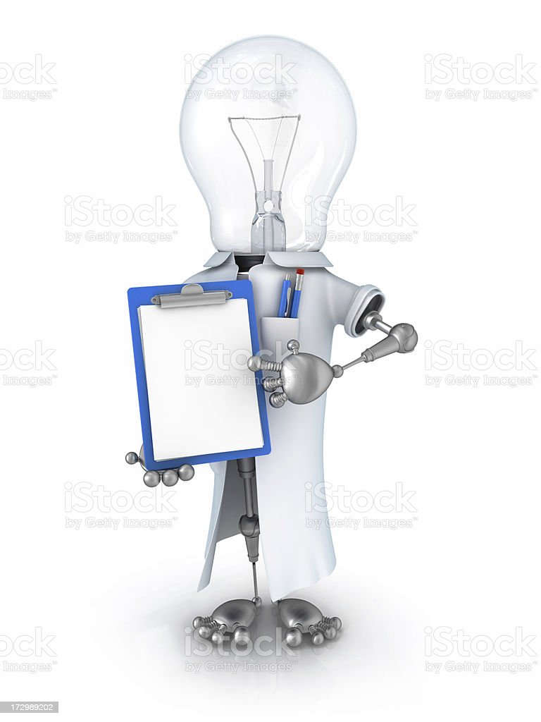 light bulb robot scientist royalty-free stock photo