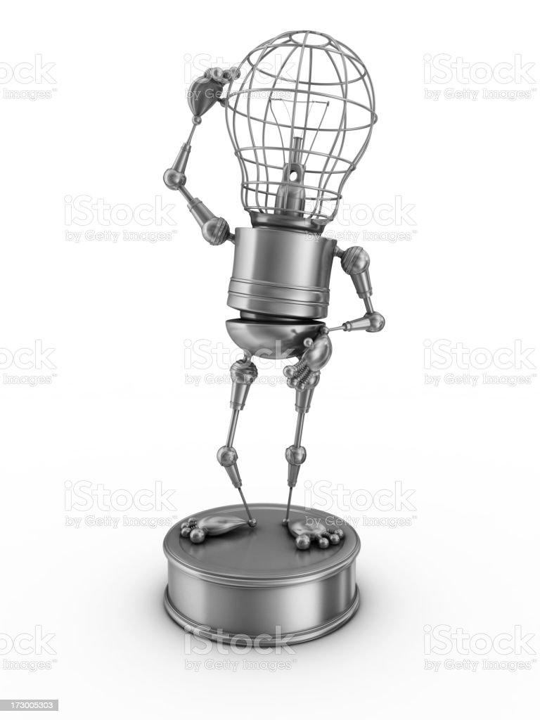 light bulb robot statue royalty-free stock photo