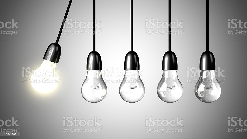 Light bulb will boost extinguished bulbs. Realistic 3d render stock photo