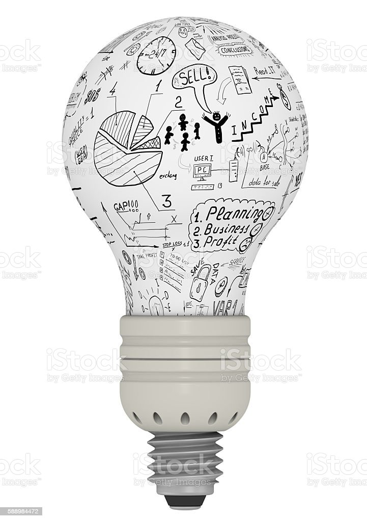 Light bulb with business sketches. The concept of generating ideas stock photo