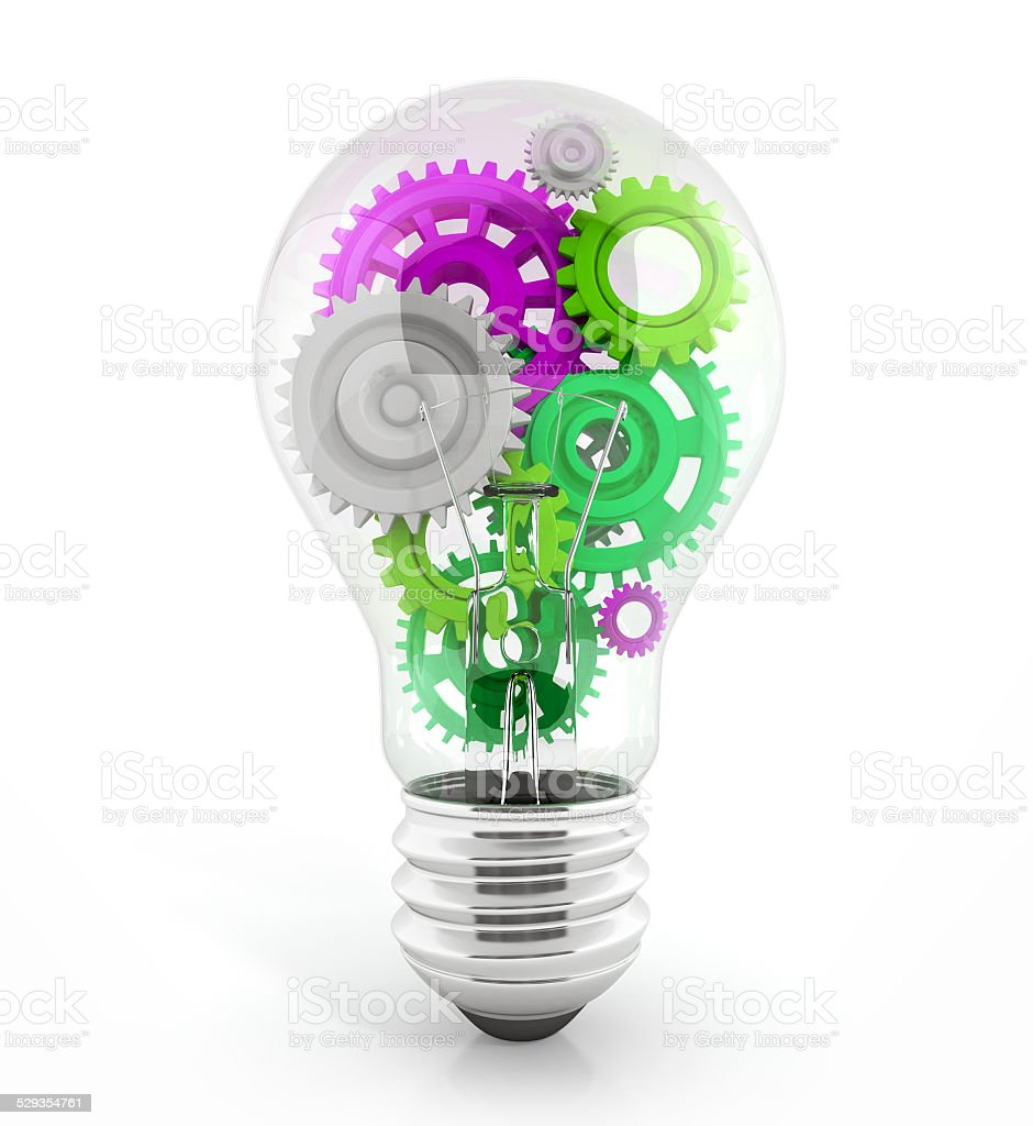 light bulb with gears in it stock photo