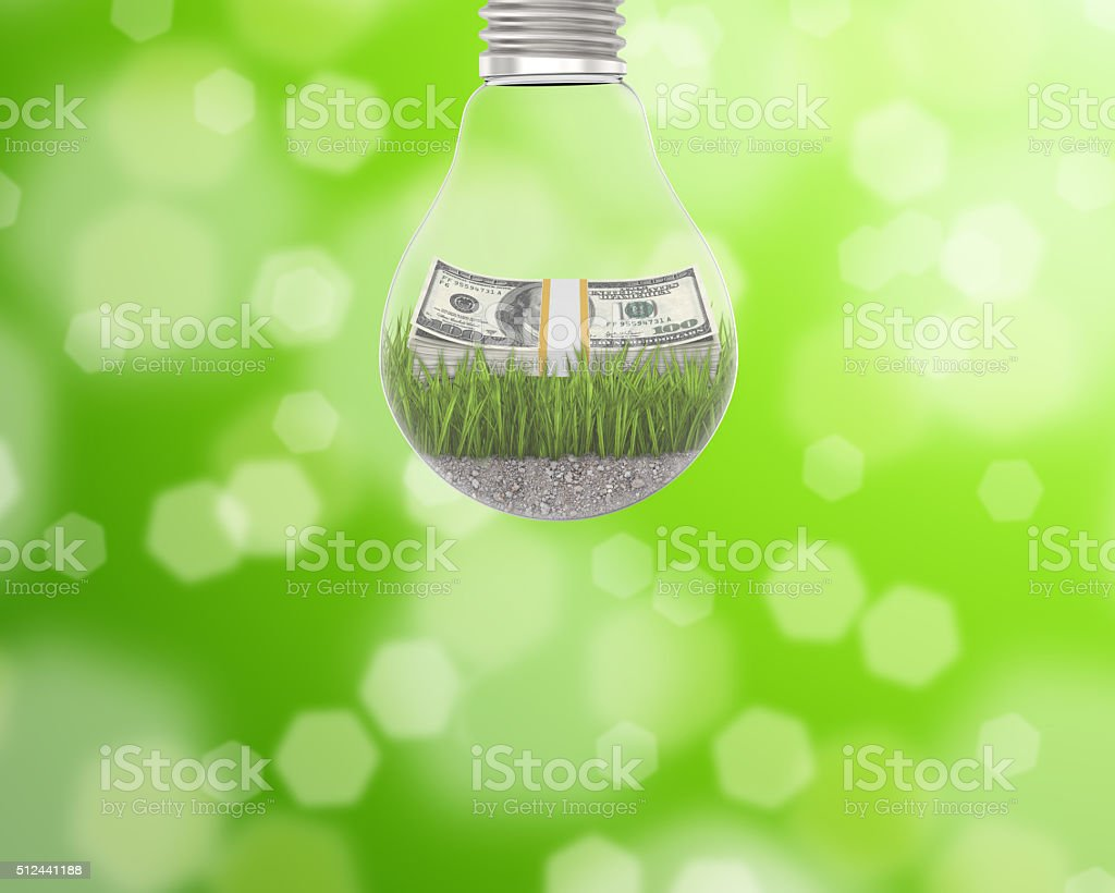 Light bulb with grass and a wad of dollars inside stock photo
