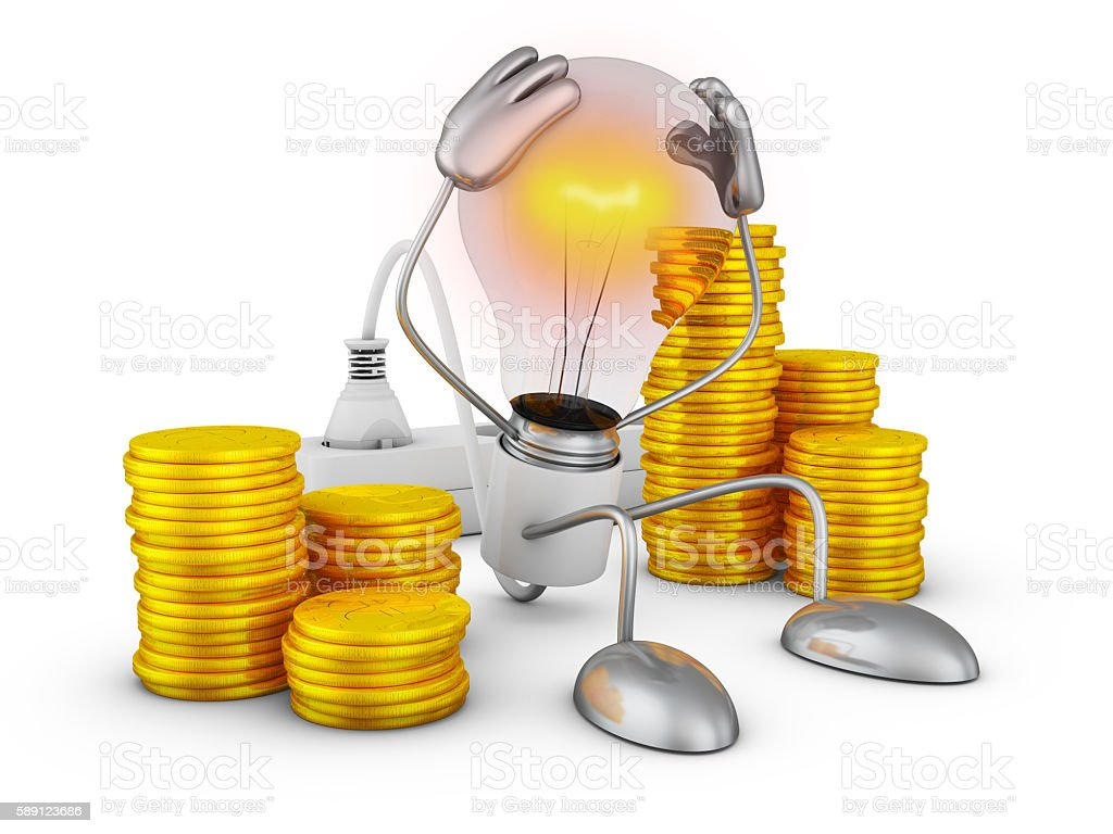 Light bulb with hands stock photo