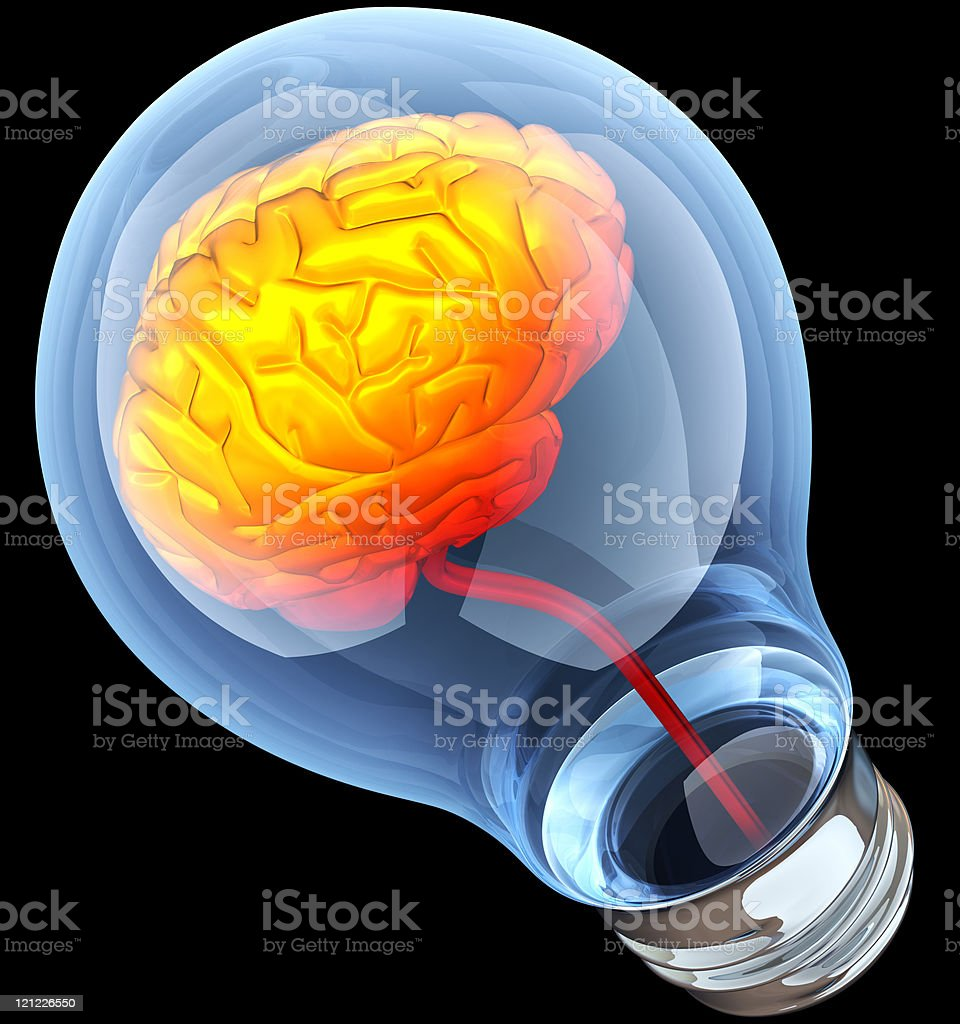 Light bulb with hot brain inside royalty-free stock photo