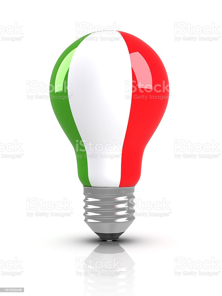 Light bulb with Italian Flag (Isolated) royalty-free stock photo