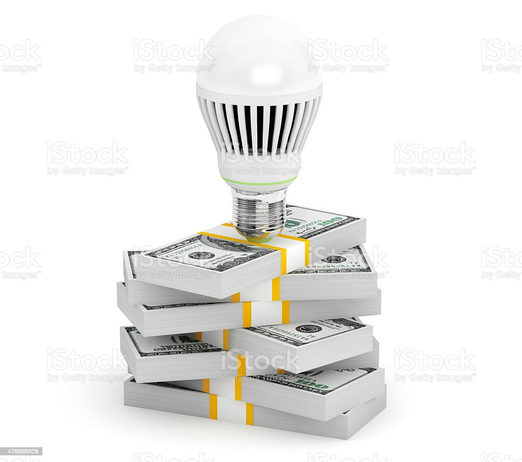 Light Bulb with Money Stack stock photo