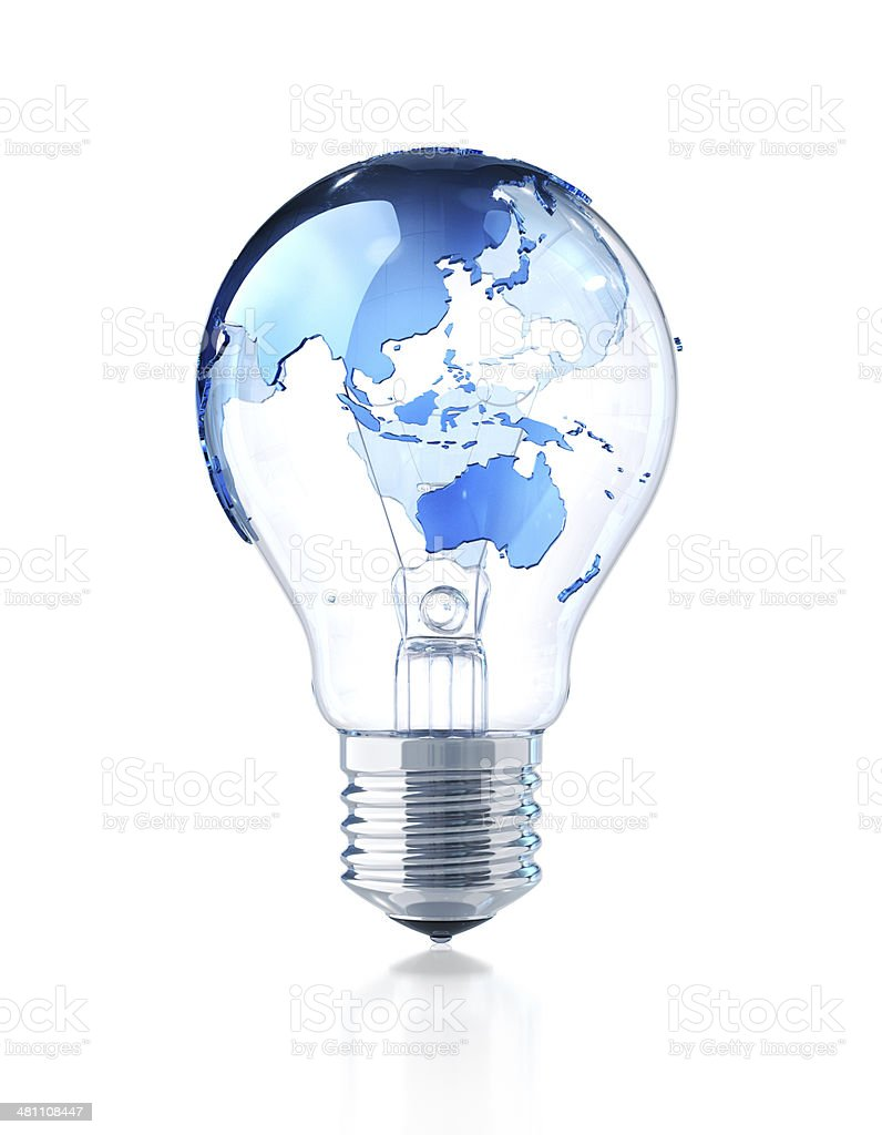 Light Bulb with World Map stock photo