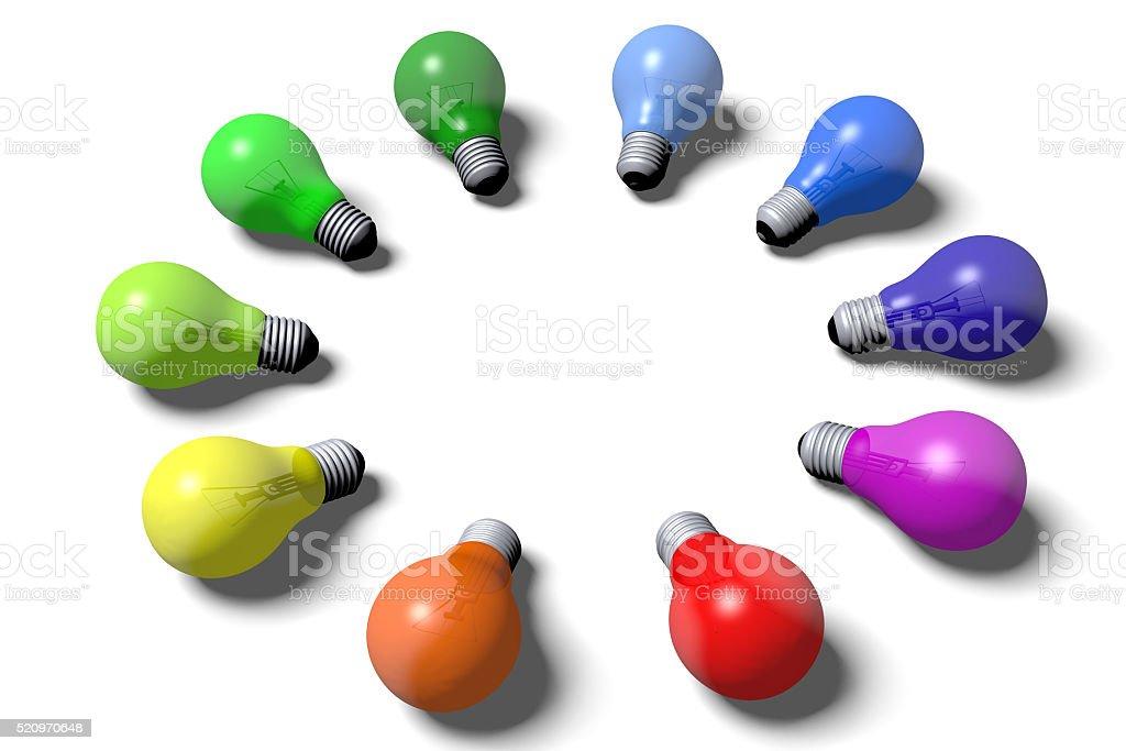 3D light bulbs concept stock photo