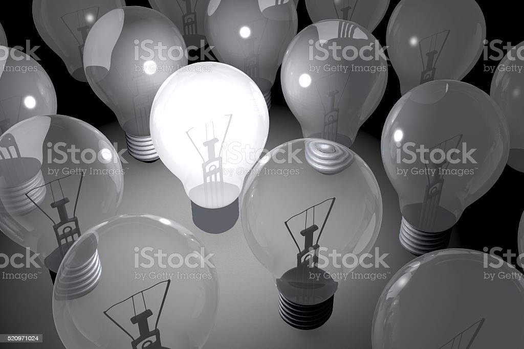 3D light bulbs concept stock photo
