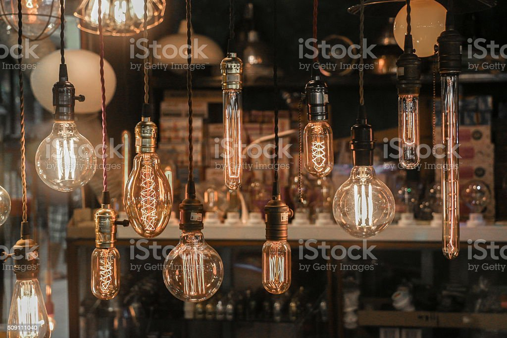 Light bulbs decoration (Front focus) stock photo