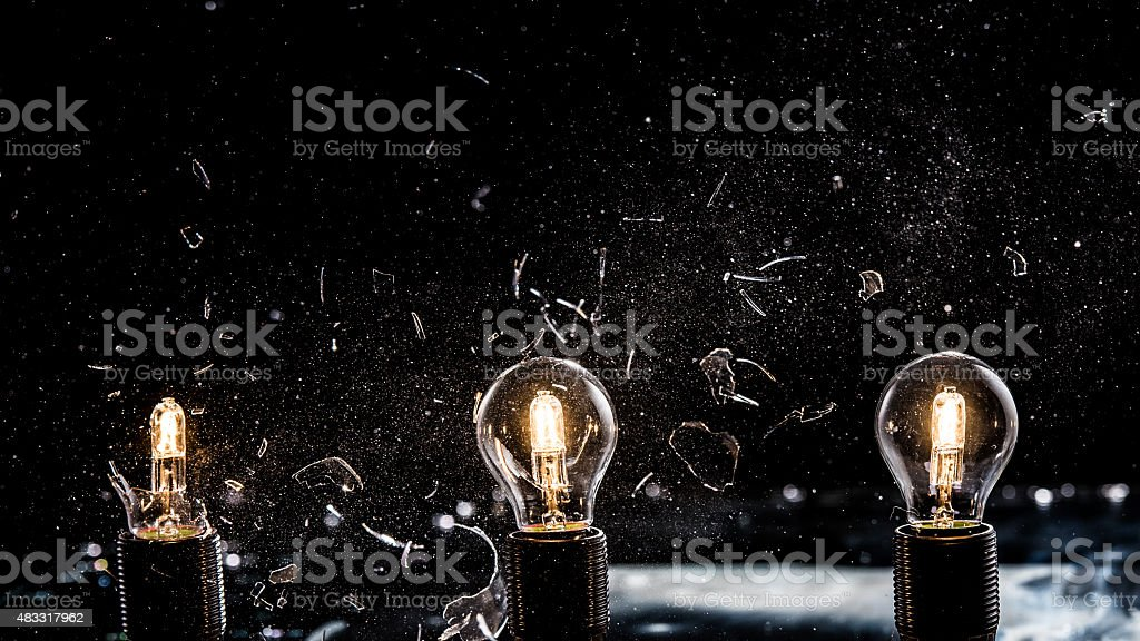 Light bulbs exploding stock photo