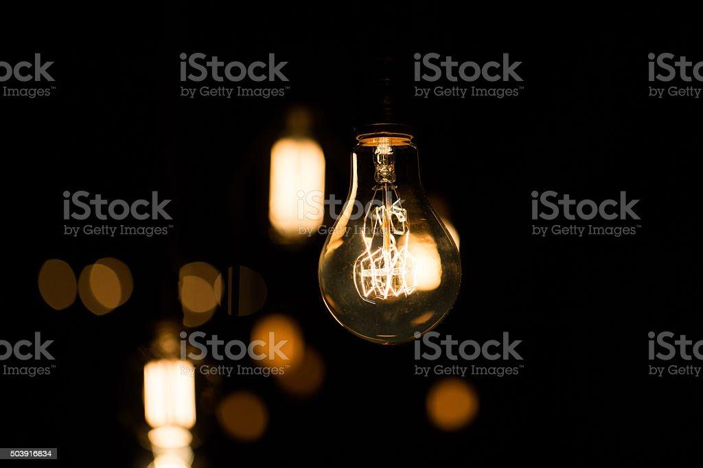 light bulbs glow stock photo
