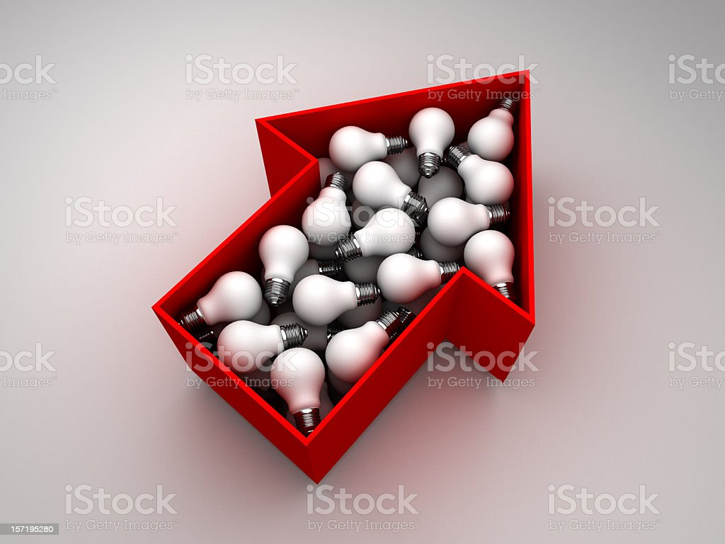 light bulbs in red arrow shaped box royalty-free stock photo