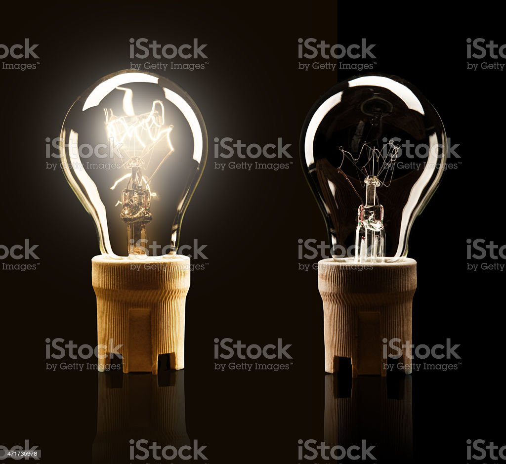 Light bulbs isolated on black background stock photo